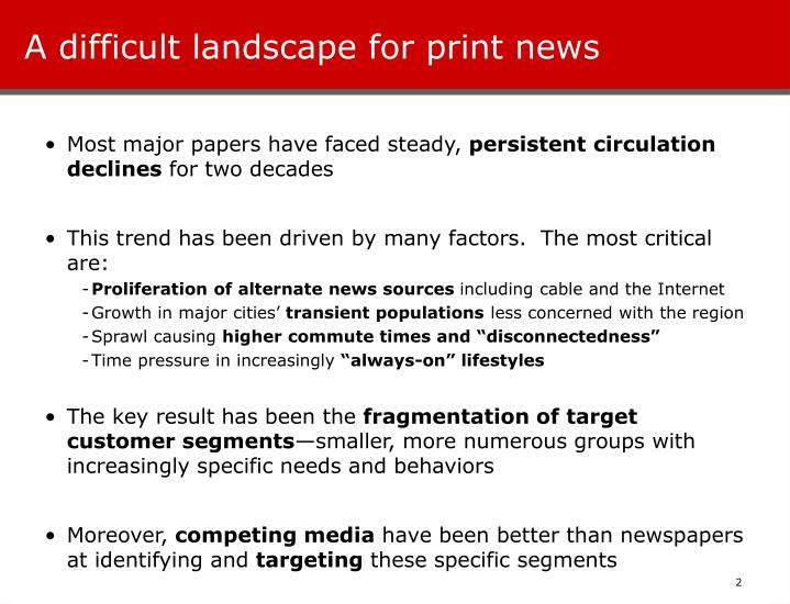 A difficult landscape for print news