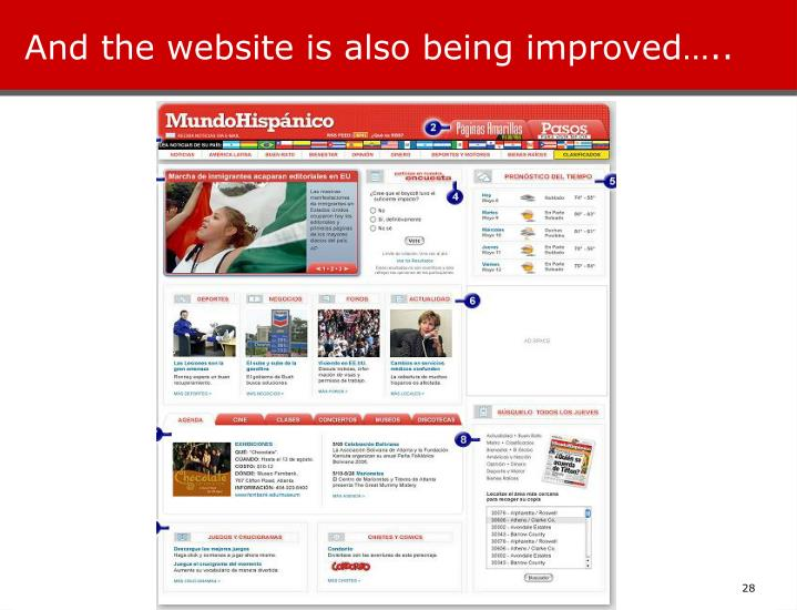 And the website is also being improved…..