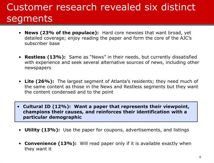 Customer research revealed six distinct segments