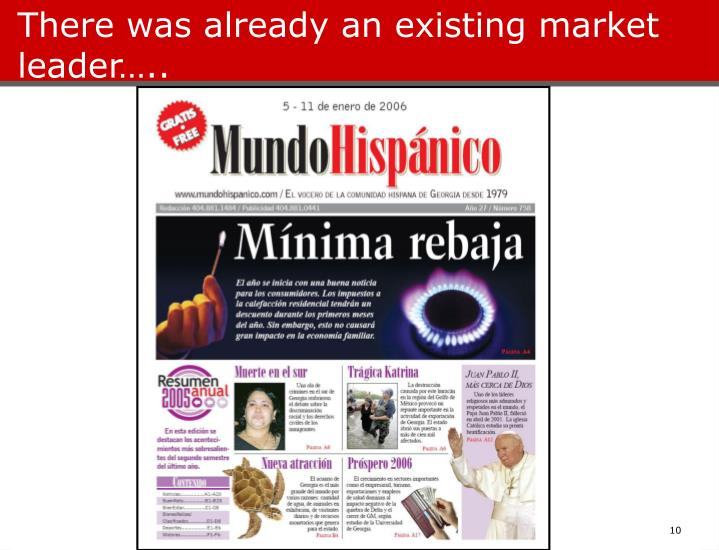 There was already an existing market leader…..