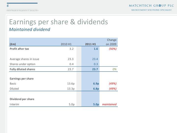 Earnings per share & dividends