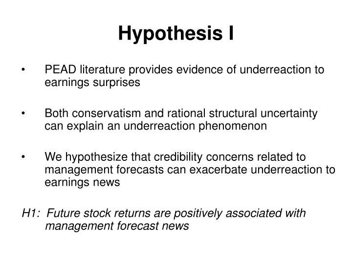 Hypothesis I