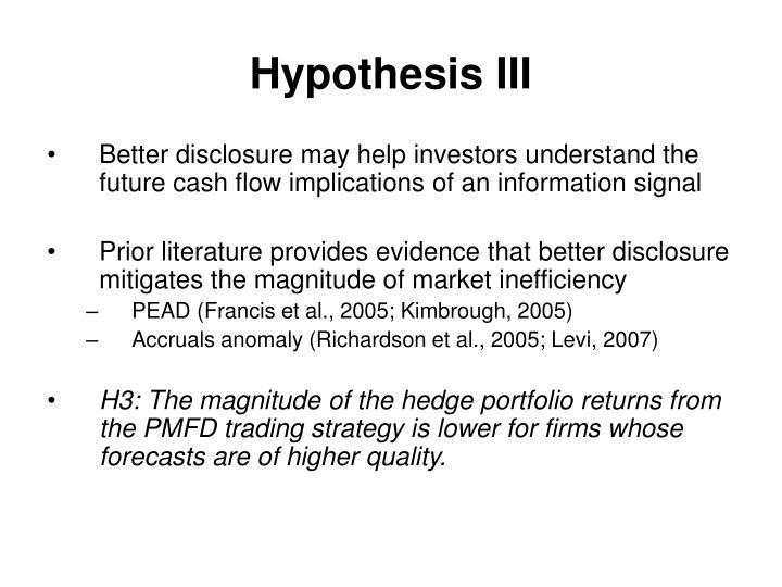 Hypothesis III
