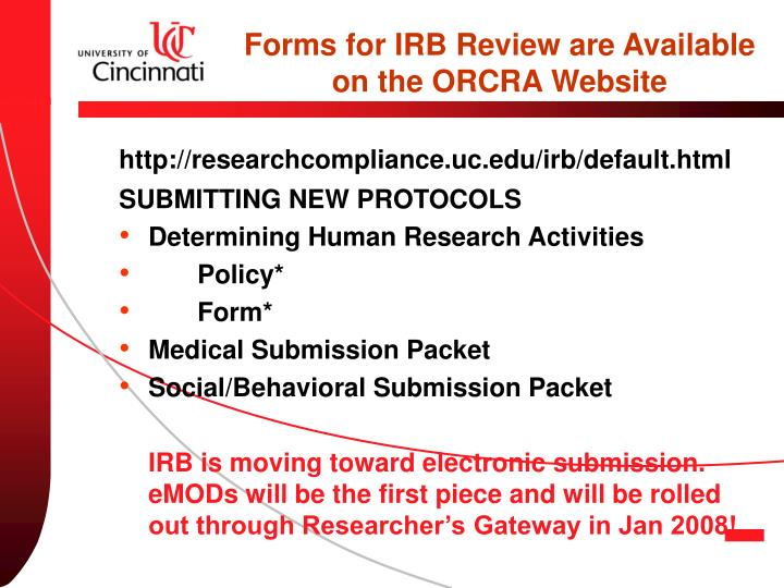 Forms for IRB Review are Available on the ORCRA Website