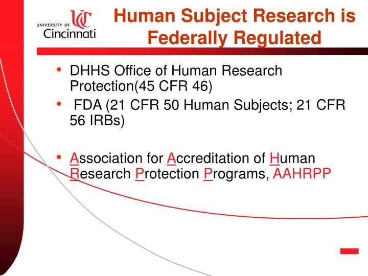 Human Subject Research is Federally Regulated