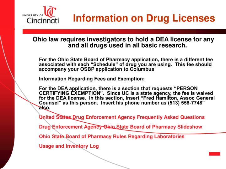 Information on Drug Licenses