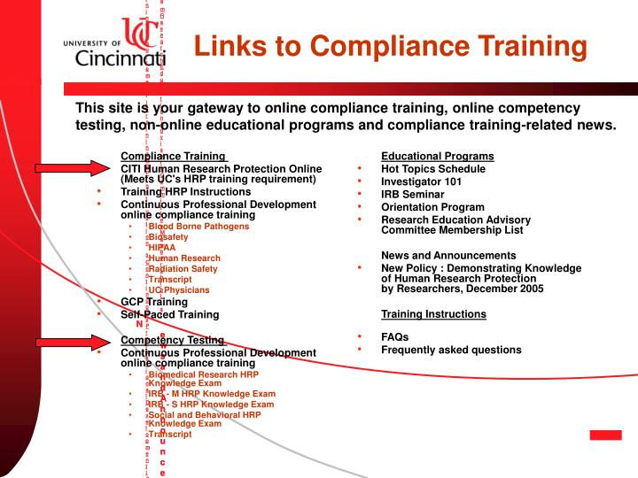 Welcome to the Research Compliance Training Site