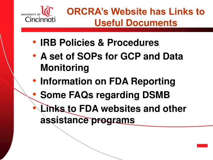 ORCRA's Website has Links to Useful Documents