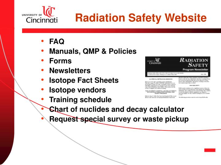 Radiation Safety Website
