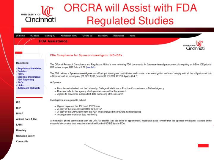 ORCRA will Assist with FDA Regulated Studies