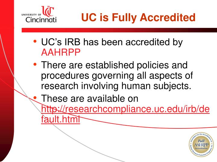 UC is Fully Accredited