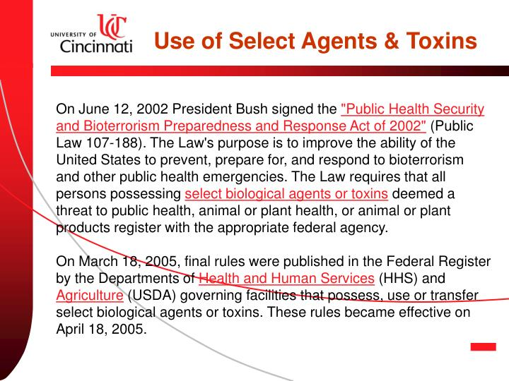 Use of Select Agents & Toxins