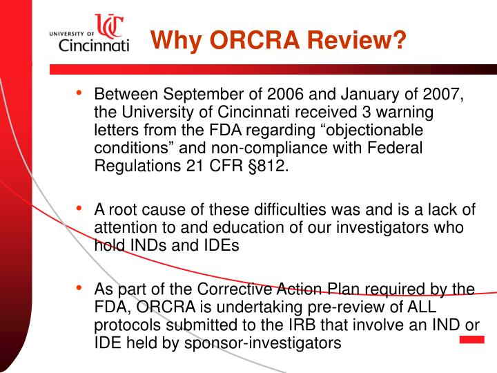Why ORCRA Review?