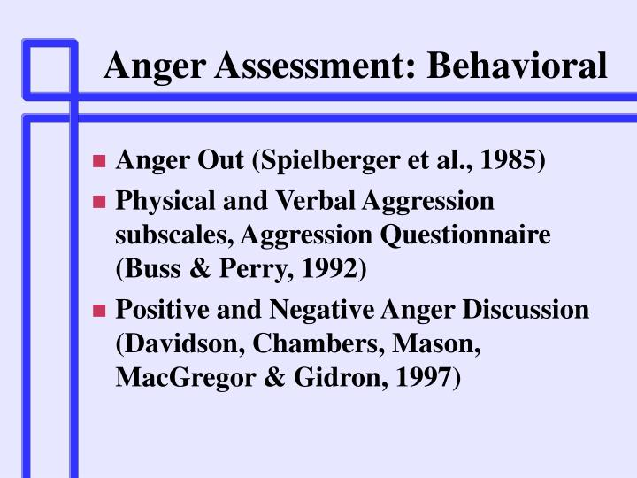 Anger Assessment: Behavioral