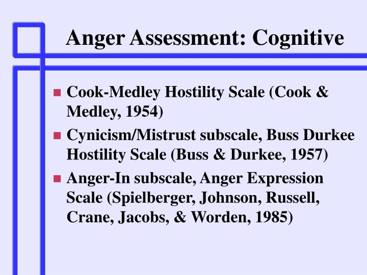 Anger Assessment: Cognitive