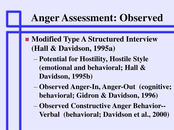 Anger Assessment: Observed