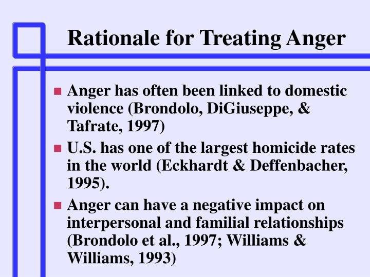 Rationale for Treating Anger