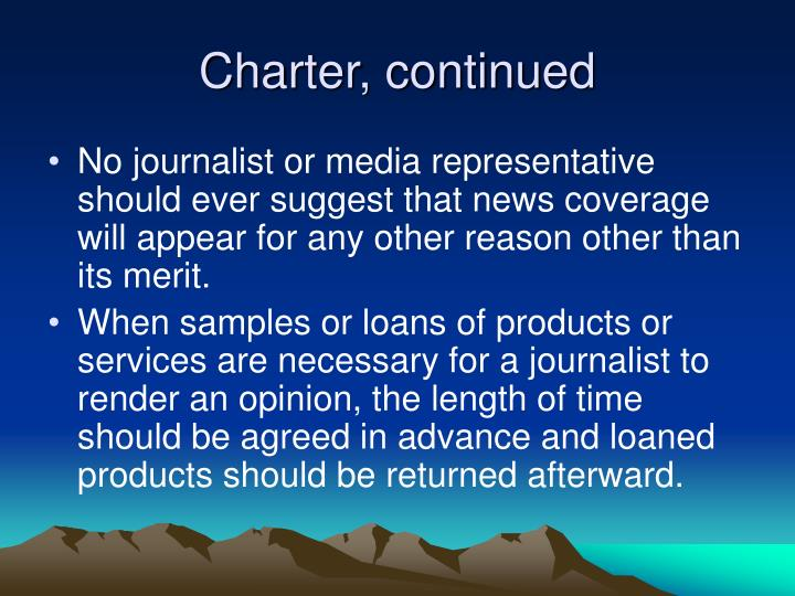 Charter, continued