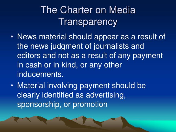 The Charter on Media Transparency