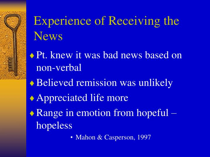 Experience of Receiving the News