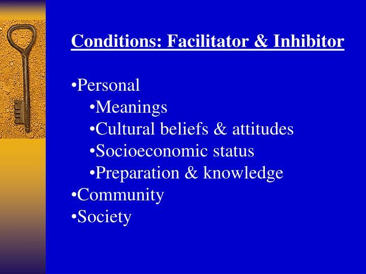 Conditions: Facilitator & Inhibitor