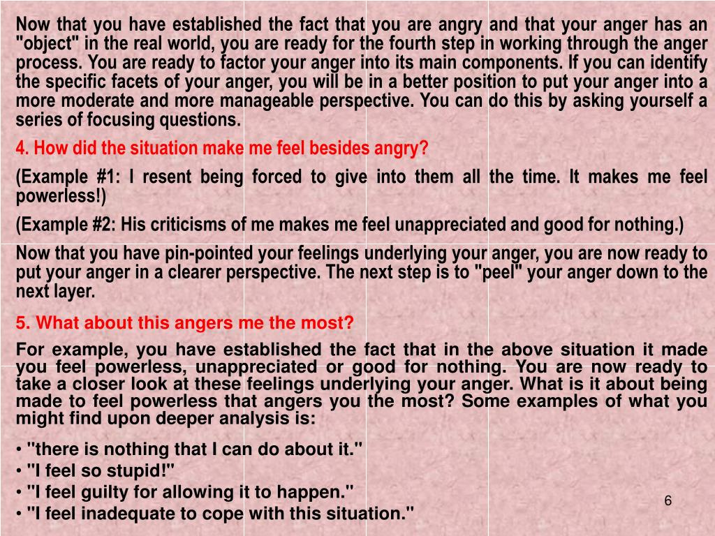 "Now that you have established the fact that you are angry and that your anger has an ""object"" in the real world, you are ready for the fourth step in working through the anger process. You are ready to factor your anger into its main components. If you can identify the specific facets of your anger, you will be in a better position to put your anger into a more moderate and more manageable perspective. You can do this by asking yourself a series of focusing questions."