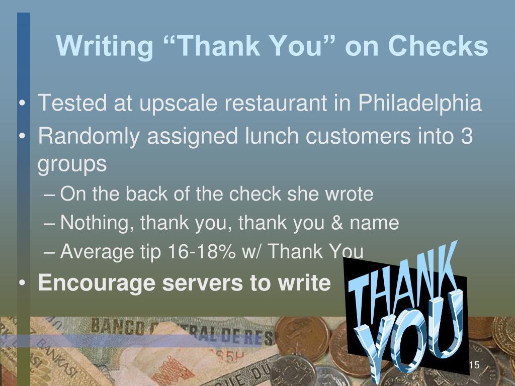 """Writing """"Thank You"""" on Checks"""