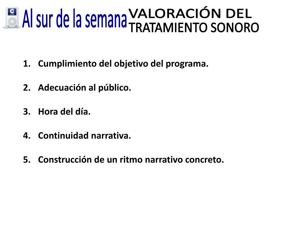 VALORACIÓN DEL