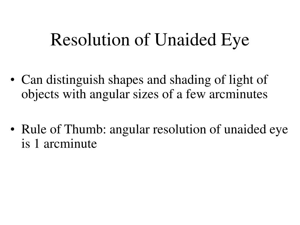 Resolution of Unaided Eye