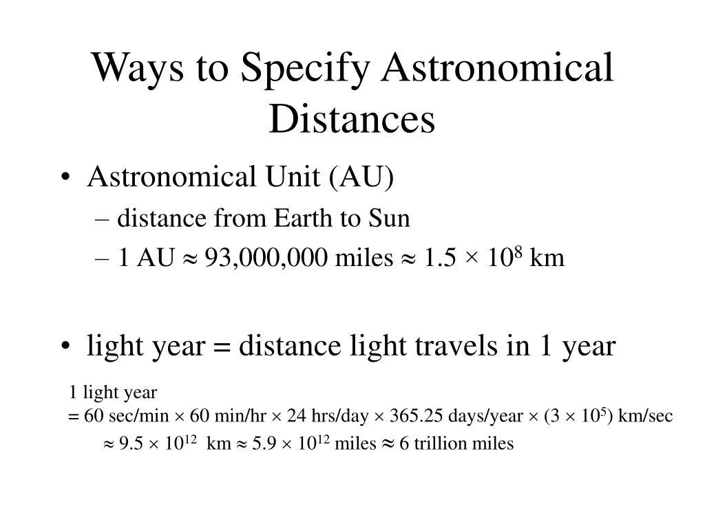 Ways to Specify Astronomical Distances