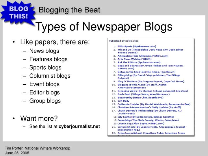 Types of Newspaper Blogs