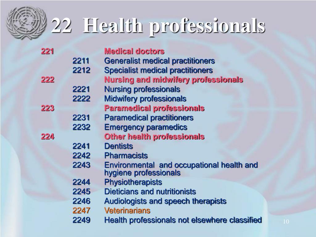 22Health professionals