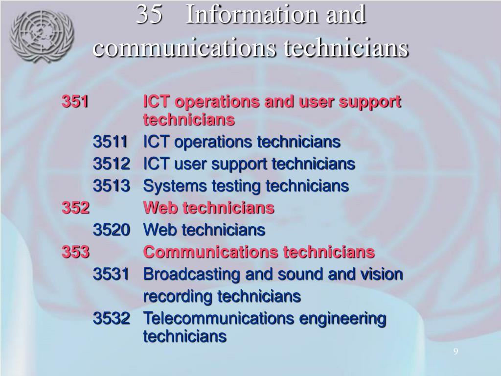 35Information and communications technicians