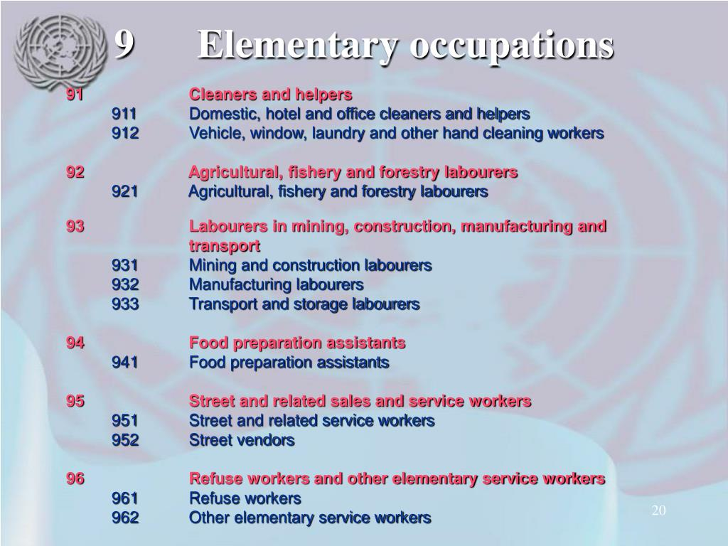 9Elementary occupations