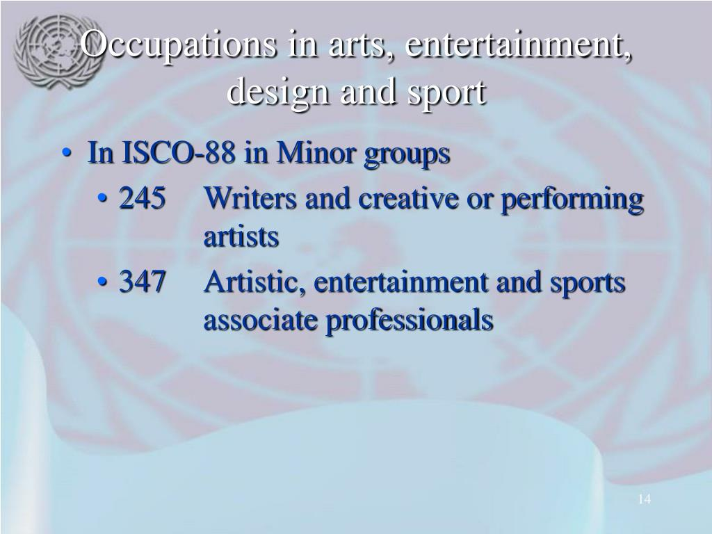 Occupations in arts, entertainment, design and sport