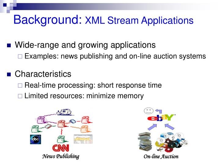 Background xml stream applications