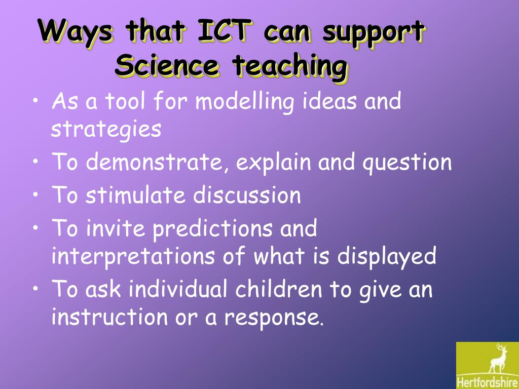 Ways that ICT can support Science teaching