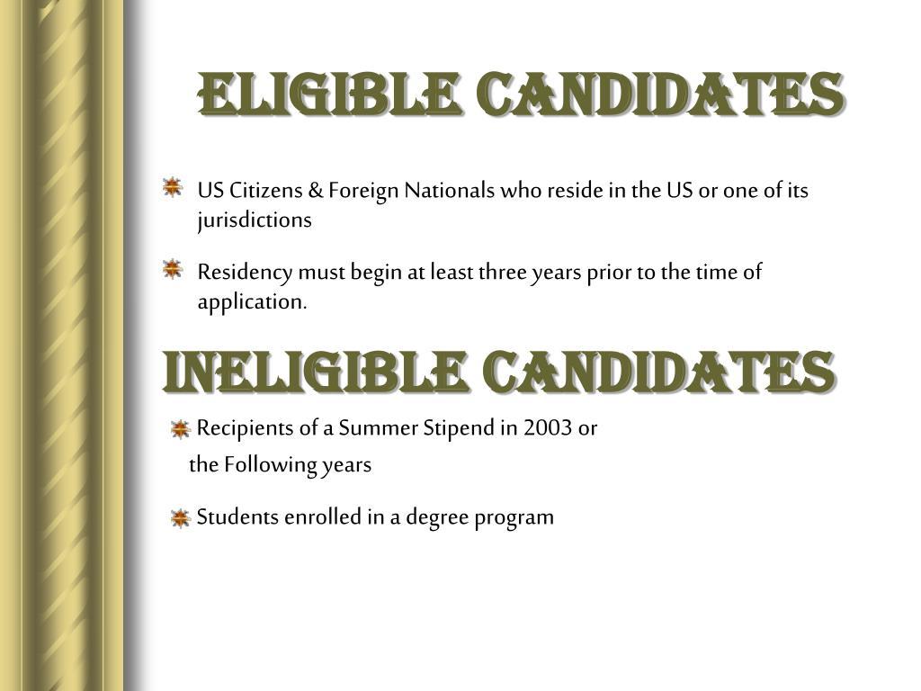 Eligible Candidates