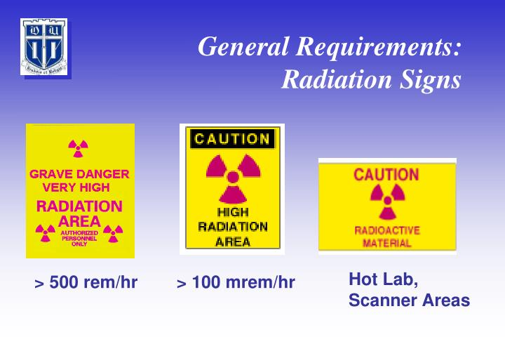 General Requirements: Radiation Signs
