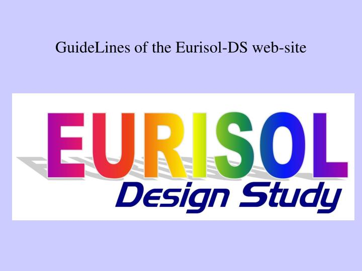Guidelines of the eurisol ds web site
