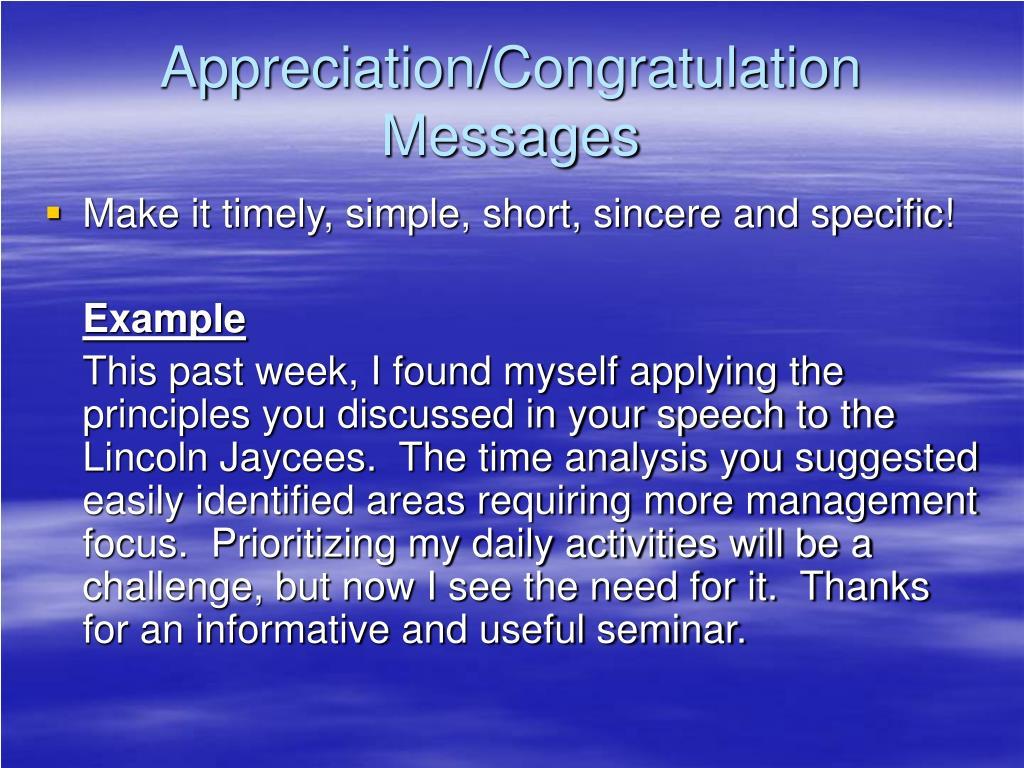 Appreciation/Congratulation Messages