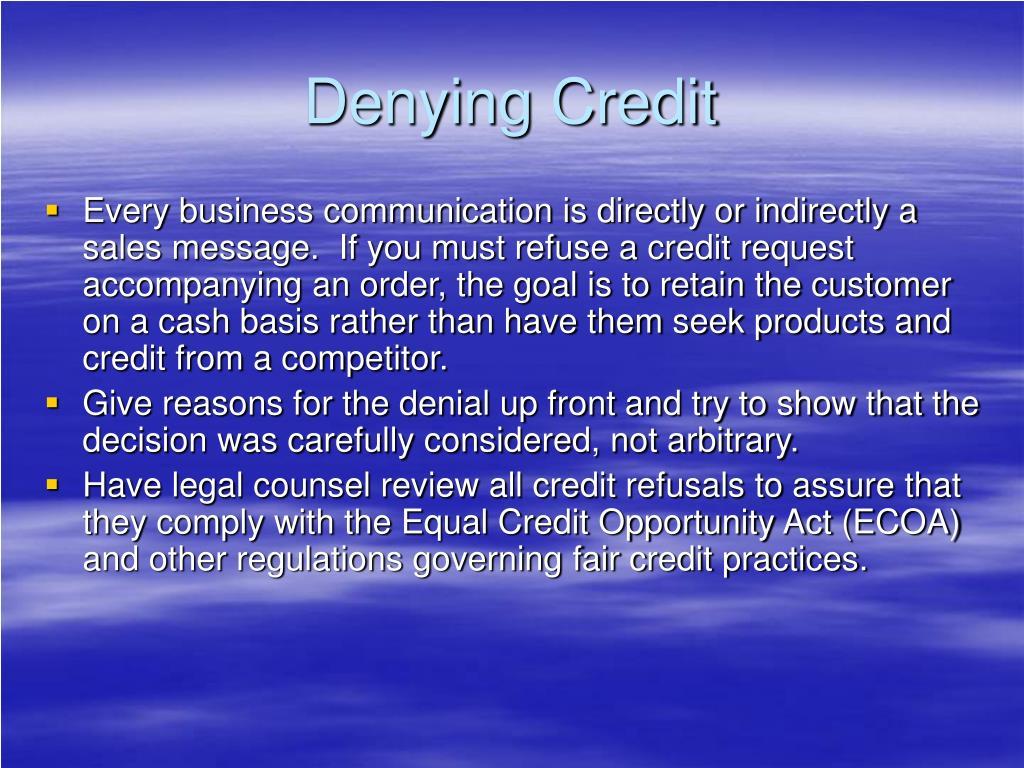 Denying Credit