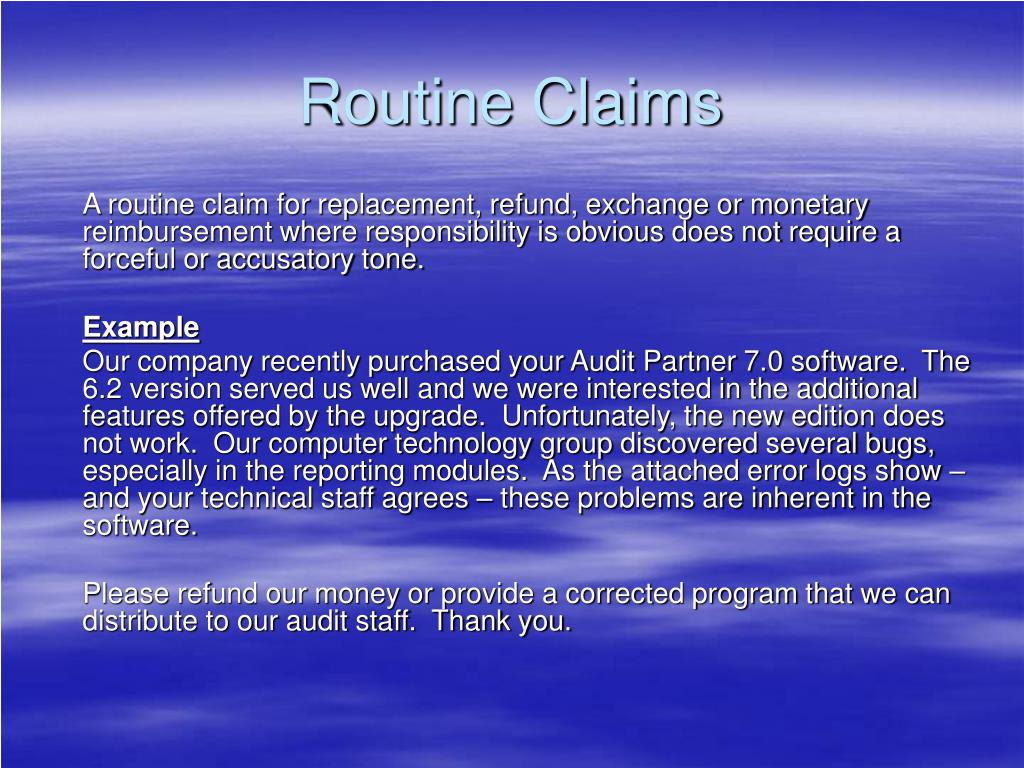 Routine Claims