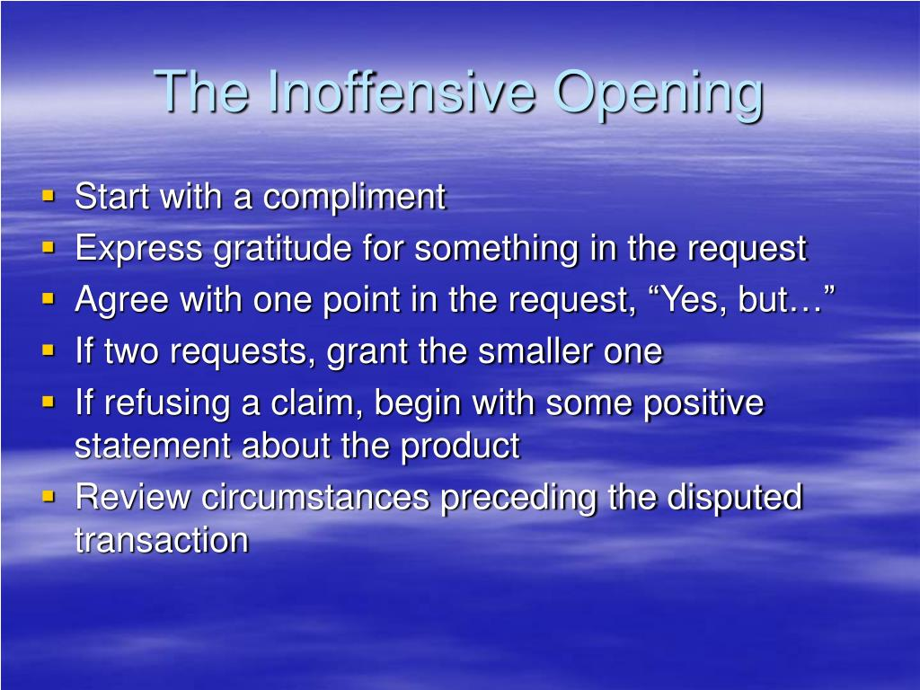 The Inoffensive Opening