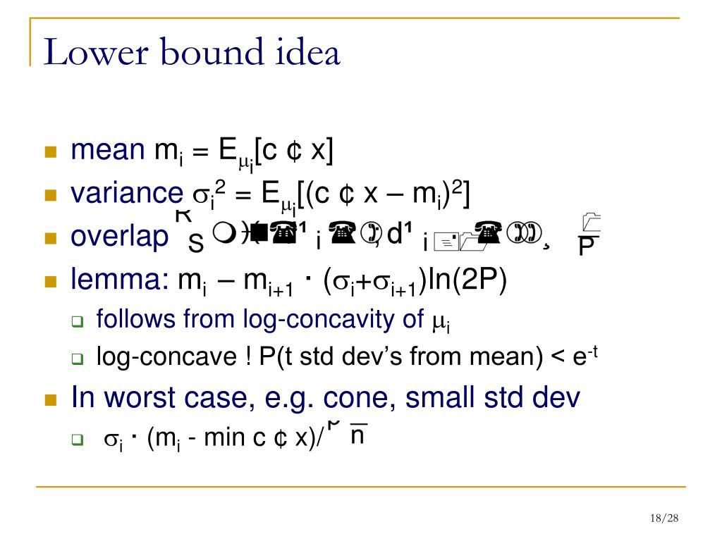 Lower bound idea