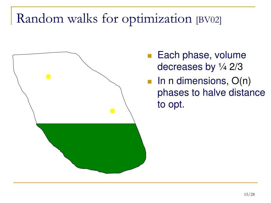 Random walks for optimization