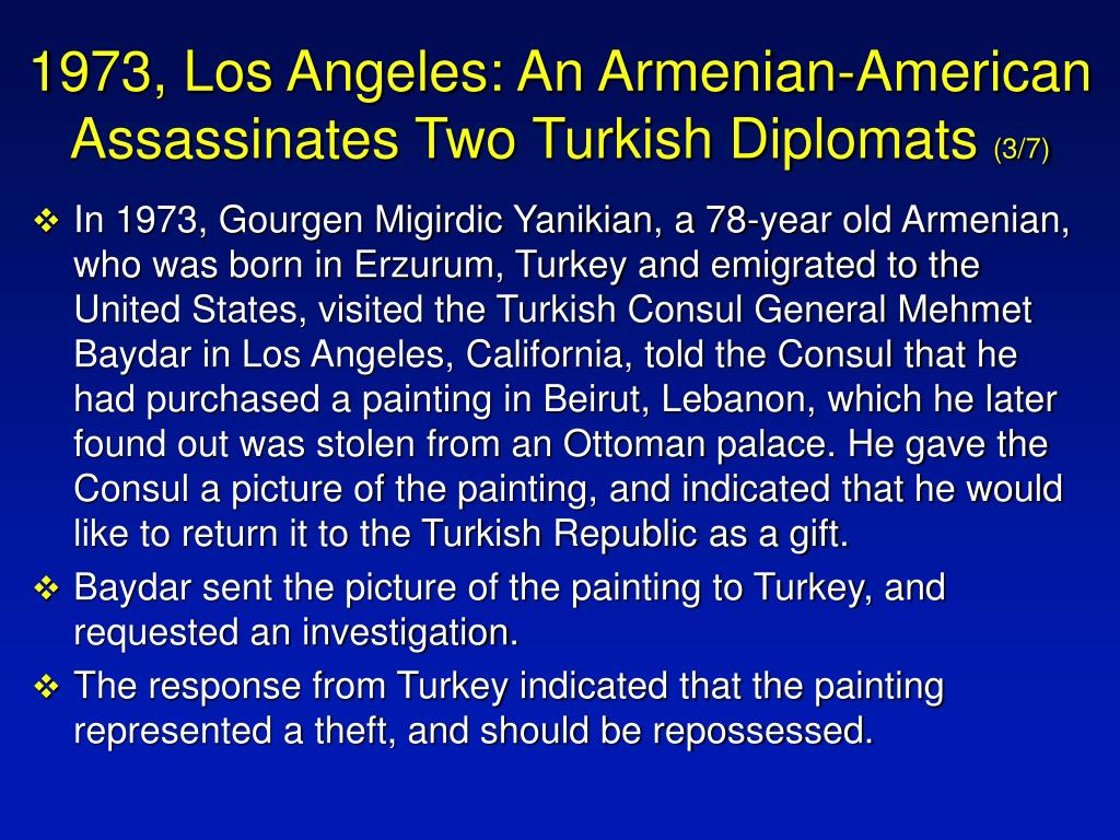 1973, Los Angeles: An Armenian-American Assassinates Two Turkish Diplomats