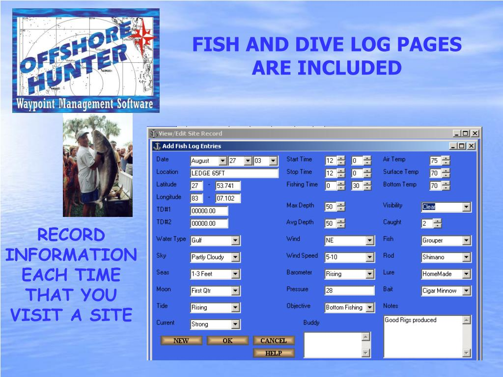 FISH AND DIVE LOG PAGES ARE INCLUDED