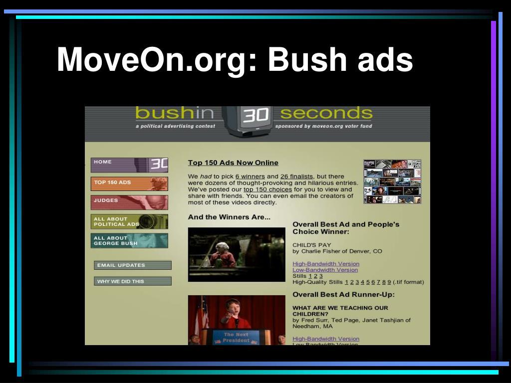 MoveOn.org: Bush ads
