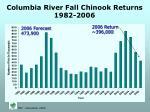 columbia river fall chinook returns 1982 2006
